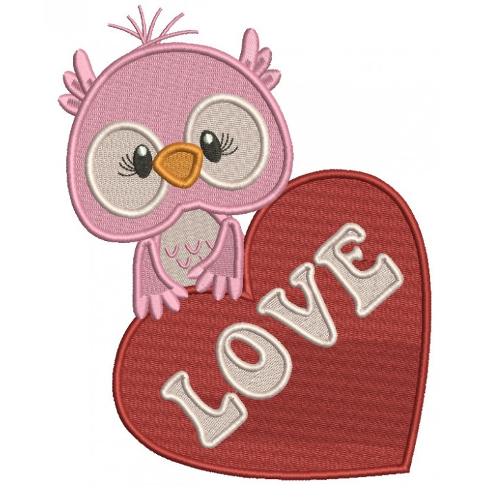 Owl With a Huge Heart Filled Valentine's Day Machine Embroidery Design Digitized Pattern