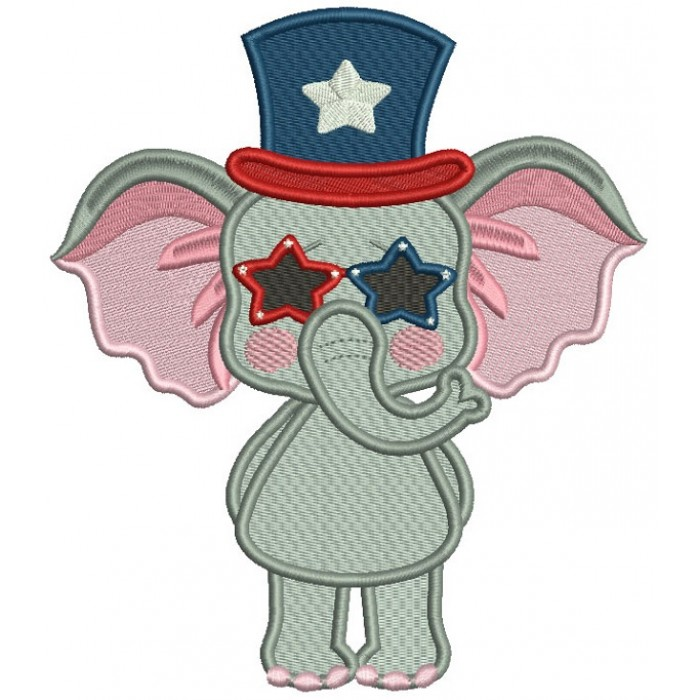 Patriotic Elephant Wearing USA Hat Filled Machine Embroidery Design Digitized Pattern