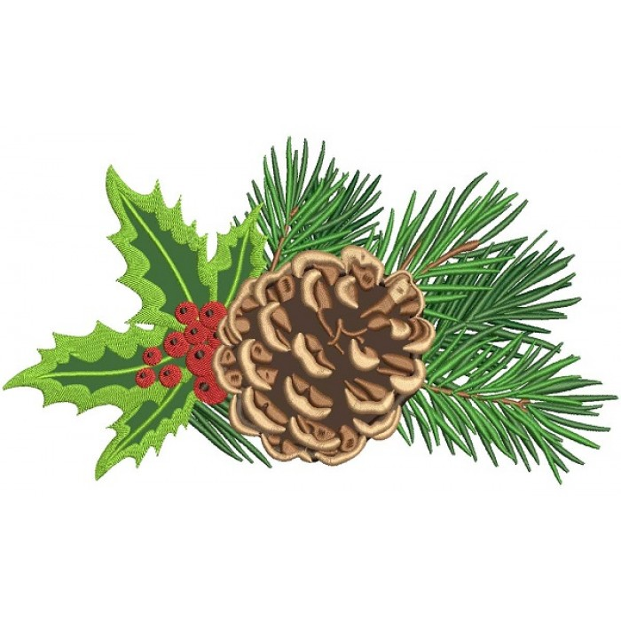 Pine Cone Applique Christmas Machine Embroidery Design Digitized Pattern