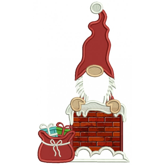 Santa In The Chimney Applique Christmas Machine Embroidery Design Digitized Pattern