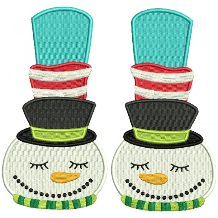 Snowman Slippers Christmas Filled Machine Embroidery Design Digitized Pattern