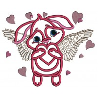 Angel Bunny With Wings Applique Machine Embroidery Design Digitized Pattern