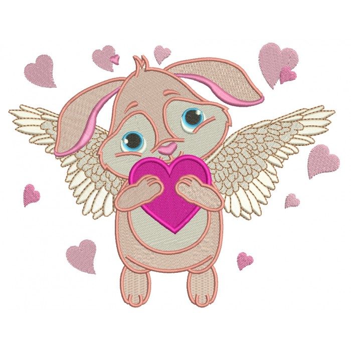 Angel Bunny With Wings Filled Machine Embroidery Design Digitized Pattern