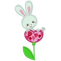 Bunny on a Heart Shaped Flower Applique Machine Embroidery Design Digitized Pattern