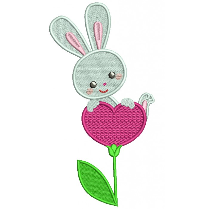 Bunny on a Heart Shaped Flower Filled Machine Embroidery Design Digitized Pattern