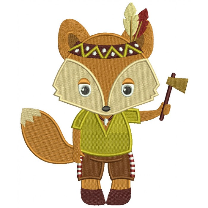 Cute Indian Fox Thanksgiving Filled Machine Embroidery Design Digitized Pattern