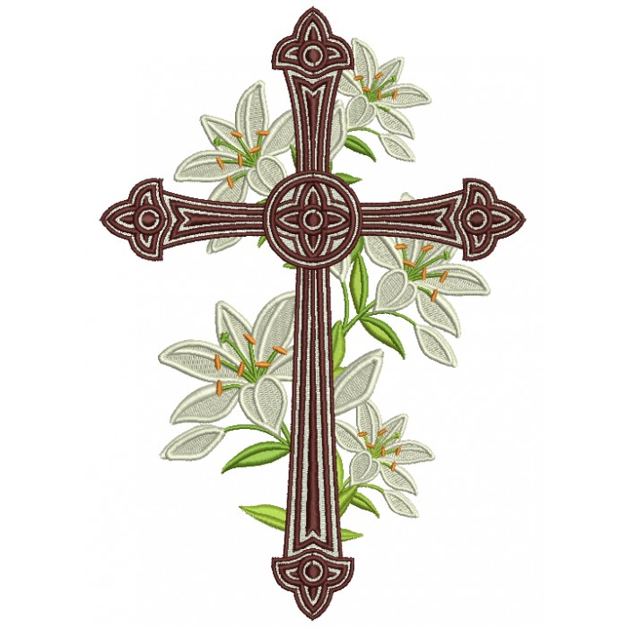 Decorative Cross With Flowers Religious Filled Machine Embroidery Design Digitized Pattern