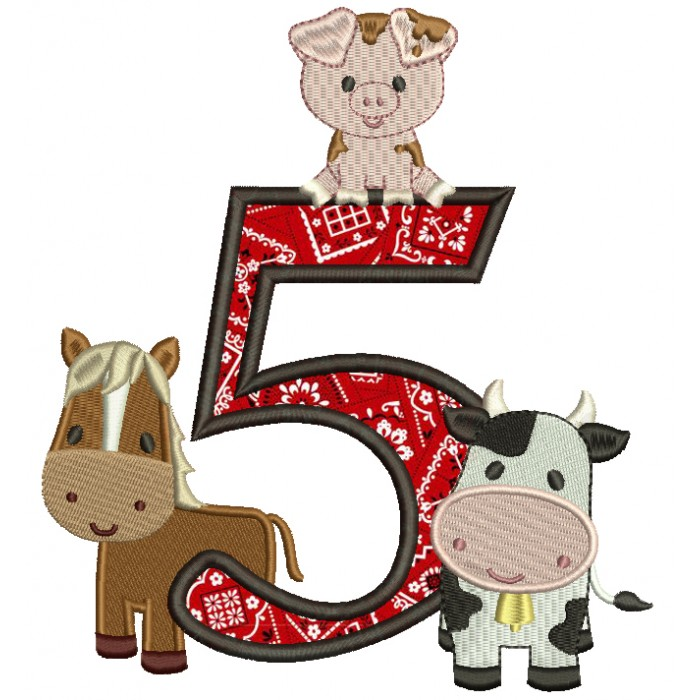Farm Animals Bithday Number Five Applique Machine Embroidery Design Digitized Pattern
