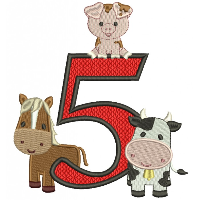 Farm Animals Bithday Number Five Filled Machine Embroidery Design Digitized Pattern