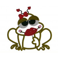 Lady Frog With a Huge Smile Applique Machine Embroidery Digitized Design Pattern