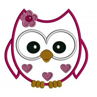 Owl With Hearts Applique Machine Embroidery Digitized Design Pattern