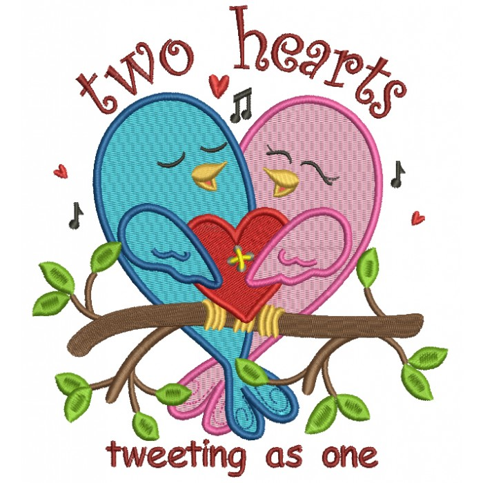 Two Hearts Tweeting As One Without Bee Filled Machine Embroidery Design Digitized Pattern