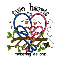 Two Hearts Tweeting As One Applique Machine Embroidery Design Digitized Pattern