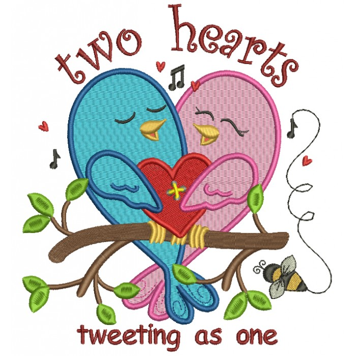 Two Hearts Tweeting As One Filled Machine Embroidery Design Digitized Pattern