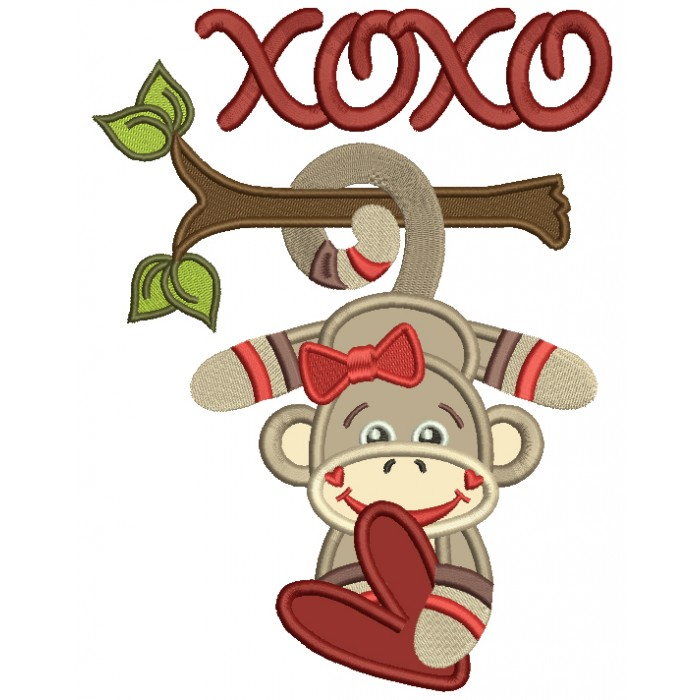 XOXO Looks Like Sock Monkey Applique Machine Embroidery Design Digitized Pattern