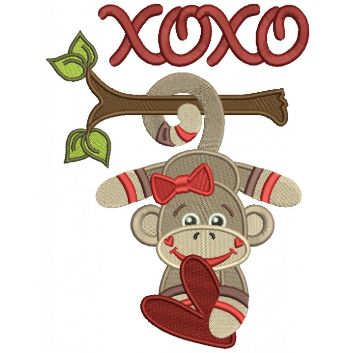 XOXO Looks Like Sock Monkey Filled Machine Embroidery Design Digitized Pattern
