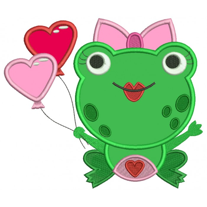 Cute Little Lady Frog With Heart Shaped Balloons Applique Machine Embroidery Digitized Design Pattern