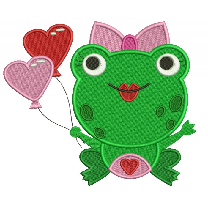 Cute Little Lady Frog With Heart Shaped Balloons Filled Machine Embroidery Digitized Design Pattern