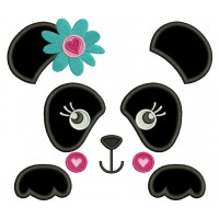 Girl Panda Bear Outline With Flower and a Heart Applique Machine Embroidery Digitized Design Pattern