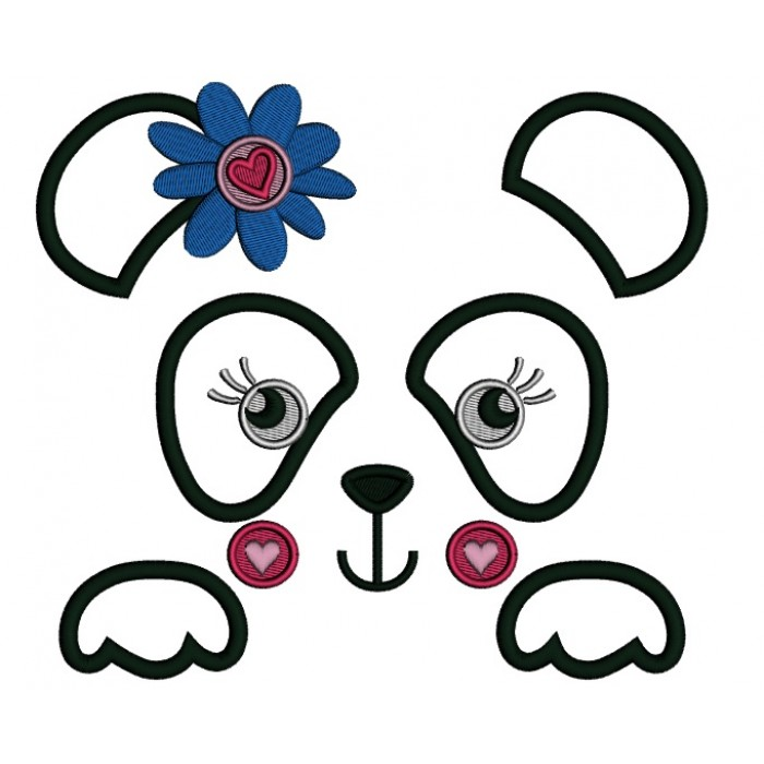 Panda Bear Outline With Flower and a Heart Applique Machine