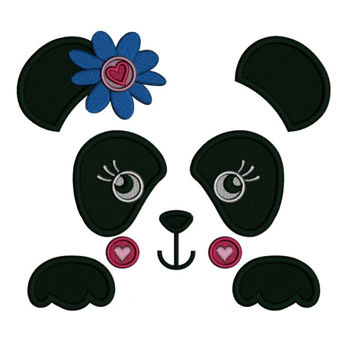Girl Panda Bear Outline With Flower and a Heart Filled Machine Embroidery Digitized Design Pattern