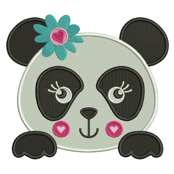 Girl Panda Bear With Flower and a Heart Filled Machine Embroidery Digitized Design Pattern