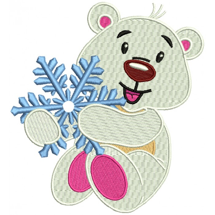 Polar Bear Holding A Snowflake Christmas Filled Machine Embroidery Design Digitized Pattern