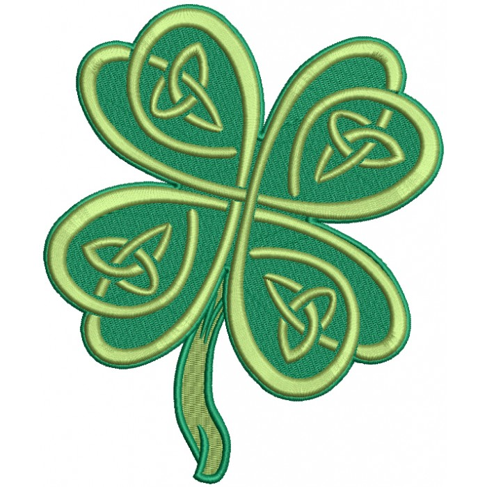 Tall Ornamental Shamrock St. Patrick's Day Filled Machine Embroidery Design Digitized Pattern