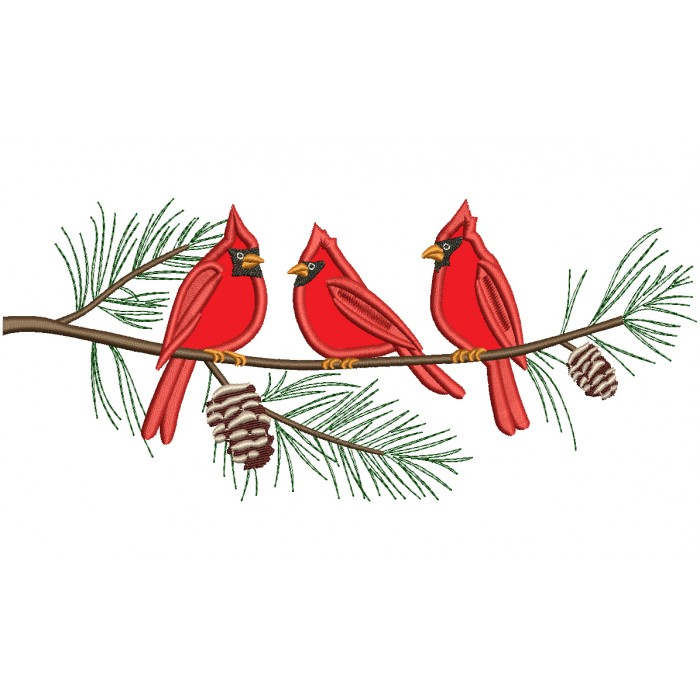 Three Cardinal Birds on a Tree Branch Applique Machine Embroidery Digitized Design Pattern
