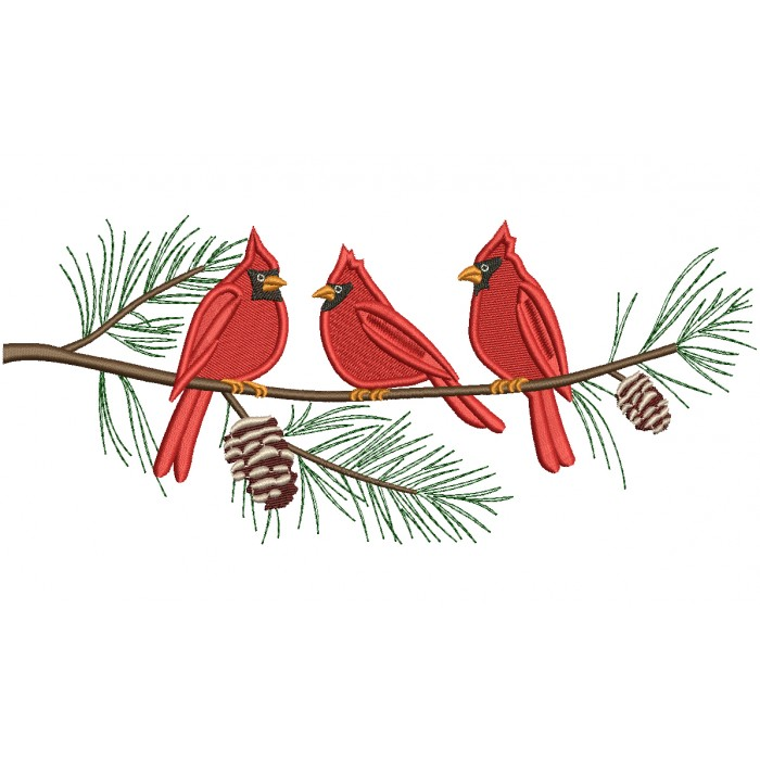 Three Cardinal Birds on a Tree Branch Filled Machine Embroidery Digitized Design Pattern