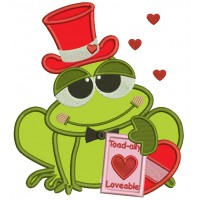 Toad Ally Loveable Frog Wearing Hat Applique Machine Embroidery Digitized Design Pattern