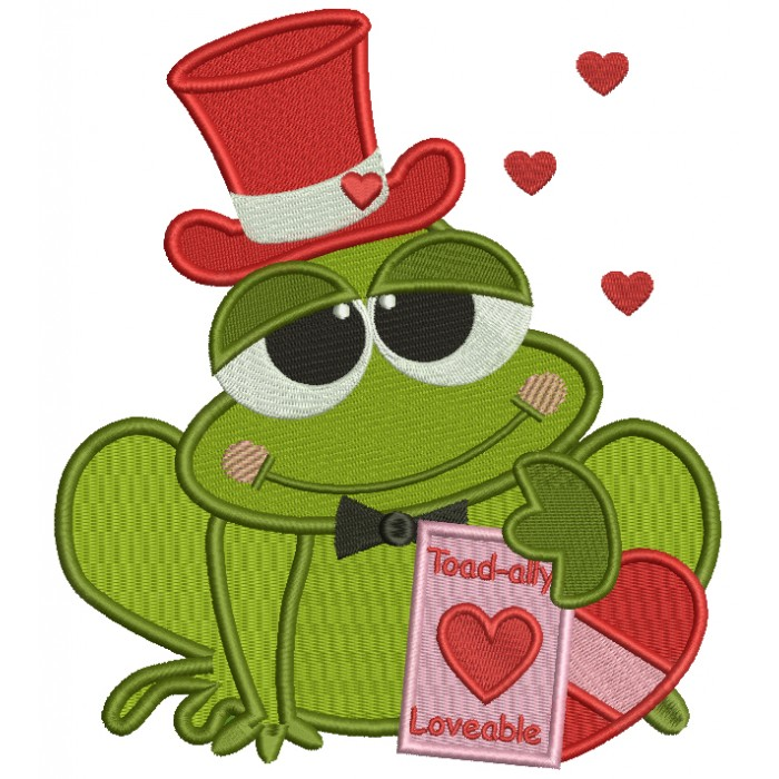 Toad Ally Loveable Frog Wearing Hat Filled Machine Embroidery Digitized Design Pattern