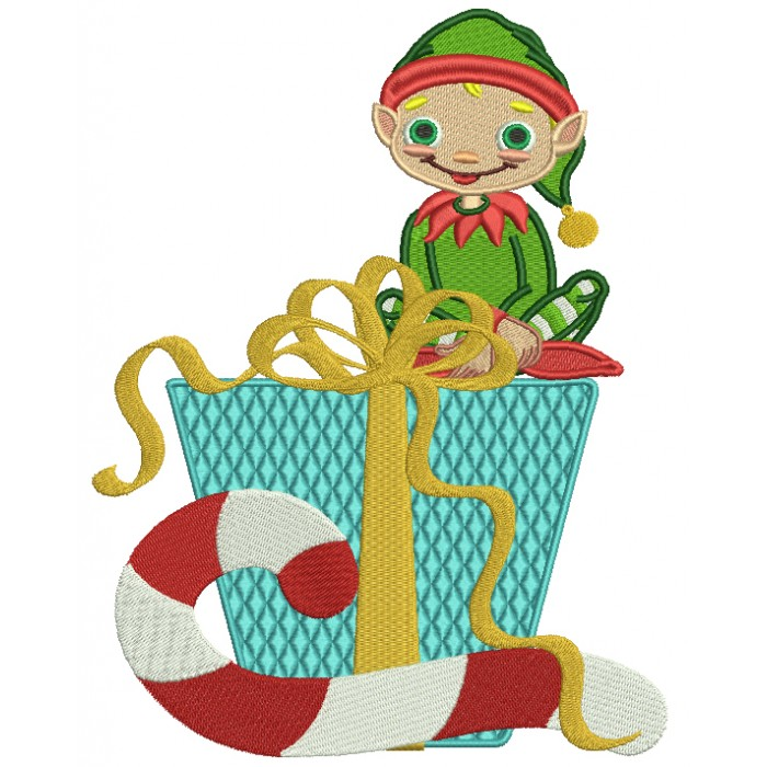 Cute Boy Elf With Presents Christmas Filled Machine Embroidery Best Elf Pattern