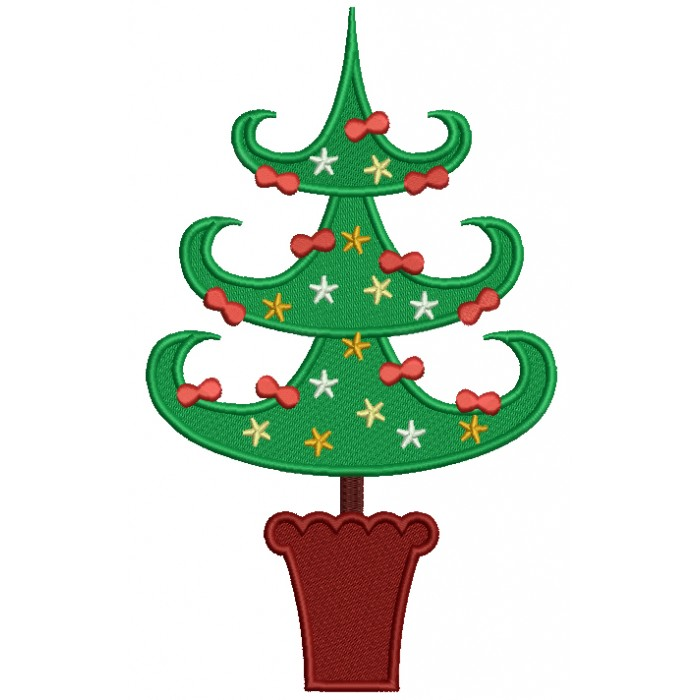 Tall Christmas Tree Filled Machine Embroidery Digitized Design Pattern