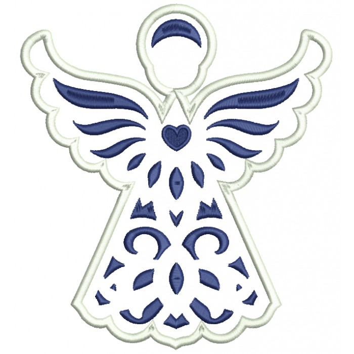 Blue Angel With Heart Applique Machine Embroidery Digitized Design Pattern