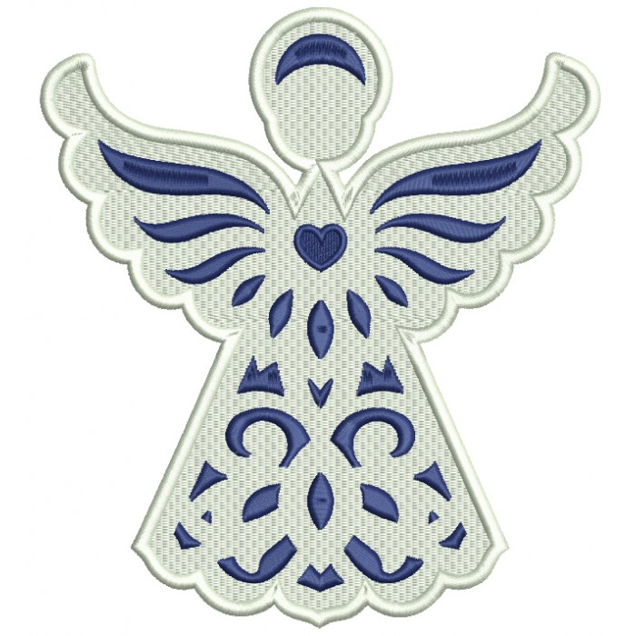 Blue Angel With Heart Filled Machine Embroidery Digitized Design Pattern