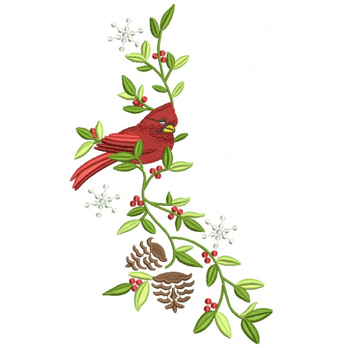 Cardinal Bird on a Branch Filled Machine Embroidery Digitized Design Pattern