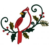 Cardinal Bird on a Green Branch Applique Machine Embroidery Digitized Design Pattern
