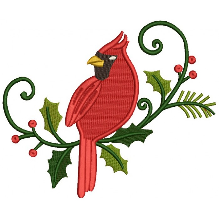 Cardinal Bird on a Green Branch Filled Machine Embroidery Digitized Design Pattern