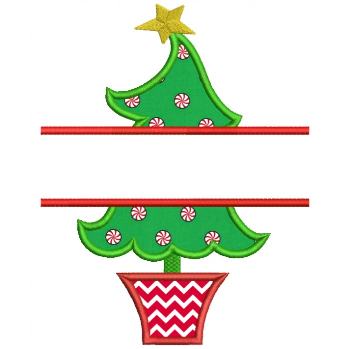 Christmas Tree Split Applique Machine Embroidery Digitized Design Pattern