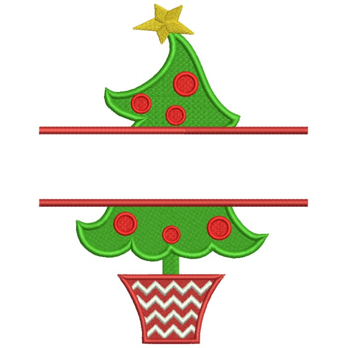 Christmas Tree Split Filled Machine Embroidery Digitized Design Pattern