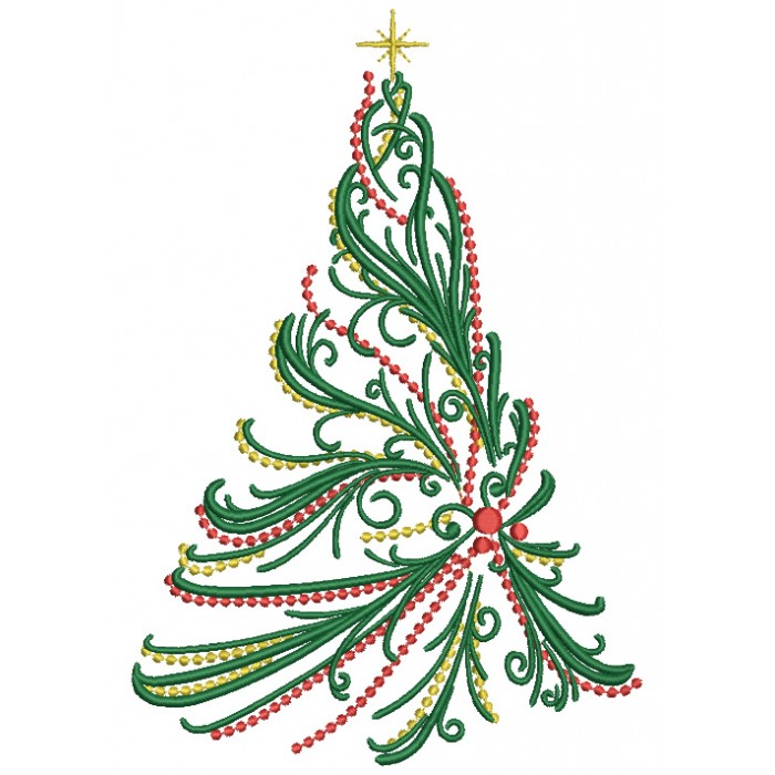 christmas tree with fancy lights filled machine embroidery digitized design pattern - Fancy Christmas Tree