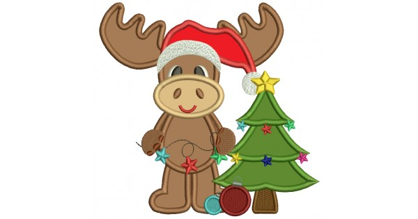 Cute moose and christmas tree applique machine embroidery