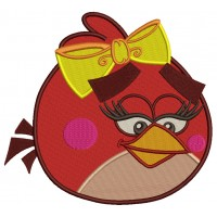 Female Red Bird Ruby Filled Machine Embroidery Digitized Design Pattern