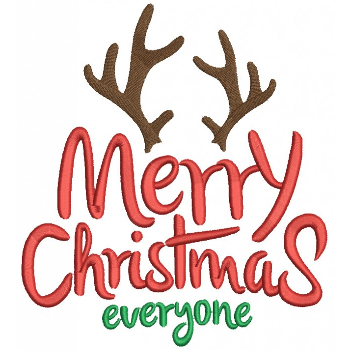 Merry Christmas Everyone >> Merry Christmas Everyone Deer Antlers Filled Machine Embroidery