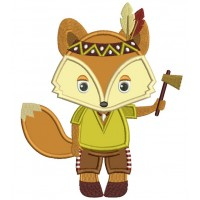 Cute Indian Fox Thanksgiving Applique Machine Embroidery Design Digitized Pattern
