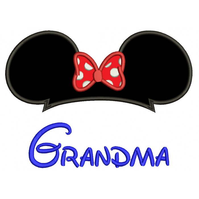 Grandma Mickey Mouse Ears Applique Machine Embroidery Digitized Design Pattern