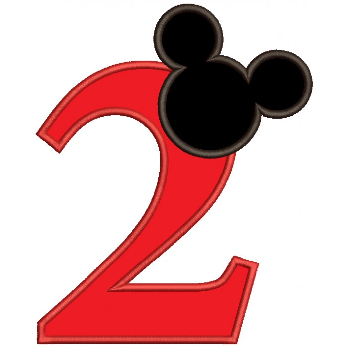 Looks Like Mickey Ears Second Birthday Applique Machine Embroidery Design Digitized Pattern
