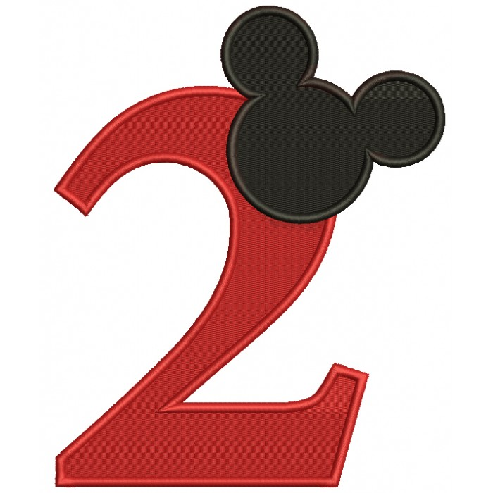 Looks Like Mickey Ears Second Birthday Filled Machine Embroidery Design Digitized Pattern