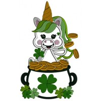 Lucky Unicorn Sitting In The Pot Of Gold St. Patrick's Applique Machine Embroidery Design Digitized Pattern